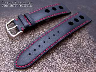 20mm Sport Racer Punch Holes Black Watch Strap Red Stit