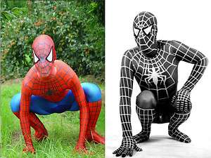 Lycra Spandex zentai costume red &blue and black Spiderman suit