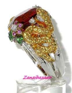 GOLD PINK TOURMALINE, SAPPHIRE & DIAMOND SNAKE RING 14.30GR