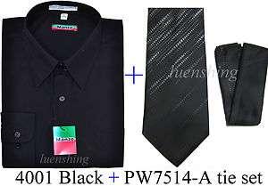 Mens Black Shirt & Black Poly Woven neck tie & hankie set 19 34/35