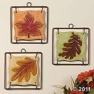 UNIQUE AUTUMN MAPLE LEAF PLAQUES WALL HANGINGS (SET OF 3) NEW