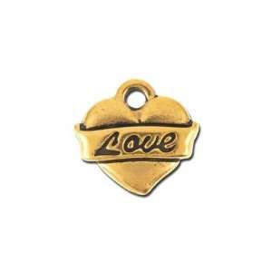 14mm Antique Gold Love Heart Charm by TierraCast Arts