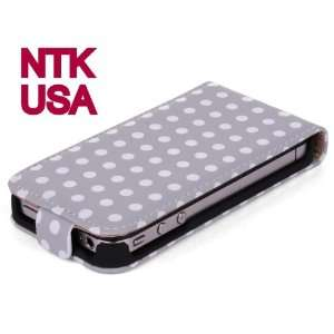 iPhone 4 4S Plaid Polka Dots Pattern Folio Leather Cover Case Tartan