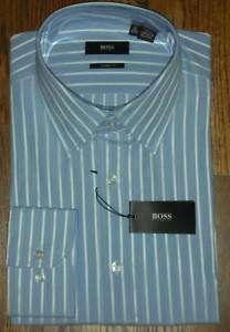 NWT Hugo Boss Enzo Blue Stripe Point Collar Dress Shirt