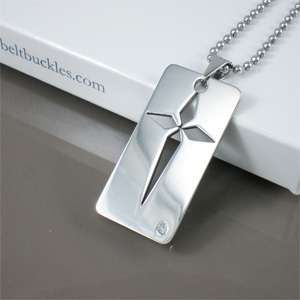 NEW Dogtag Rhinestone Silver Square Cross Mens Stainless Steel Pendant