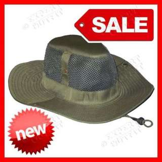 BOONIE HAT Army Olive Green BUCKET HUNTING MESH CAP CHIN STRAP NEW
