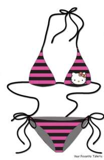 Officially Licensed Hello Kitty Pink Triangle String Bikini Set With