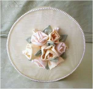 Covered Hat Boxes,Sage Green, Dupionni Silk, Roses & Pearls