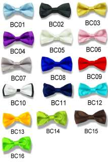 New boys Solid Bowtie Pre tied Wedding satin bow tie
