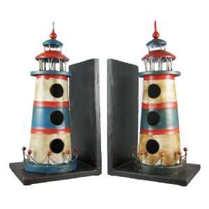 Hand Painted Metal Lighthouse Bookends Book Ends