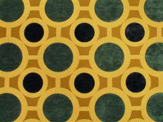 Contemporary Geometric Circles Brown Teal Chenill Upholstery Fabric
