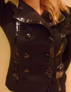 NWOT BEBE SHARP LOOKING BLACK PATENT LEATHER TRIM TRENCH COAT DRESS
