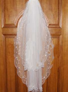 Layers White/Ivory Wedding Bridal Dress Tiara Veil Scarf/Shawl