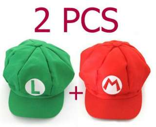 2PCS Super Mario Bros Hat Mario Luigi Cap Cosplay Rd GR