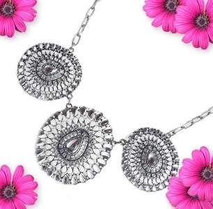 Park Lane CASA DEL SOL NECKLACE Crystal Bold Gems Cluster Black BIB $