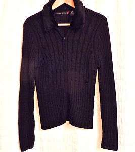 Womens Allison Brittney Cardigan Cable Knit Zip Up Sweater Fake Fur