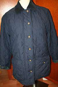 Brooks Brothers Navy Blue Quilted Fleece Lined Mid Length Coat Jacket