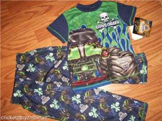 MONSTER JAM GRAVE DIGGER TRUCK Boys Pajamas Pjs Shirt Pants NEW 4/5 6