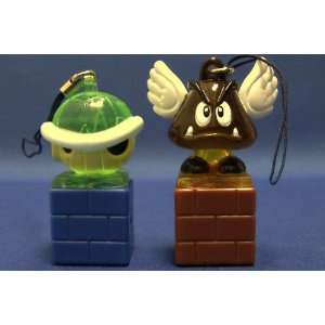 Super Mario Bros Light up Figure Keychain Koopa Shell Green Goomba