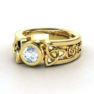 Celtic Sun Ring, Round Aquamarine 14K Yellow Gold Ring Jewelry