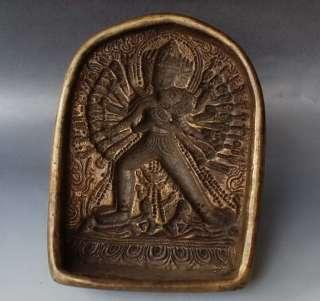 sitatapatra TSATSA Mold old Tibet Buddhist Brass Amulet