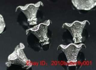 Free ship 3pcs tibetan silver bugle bead caps 22mm