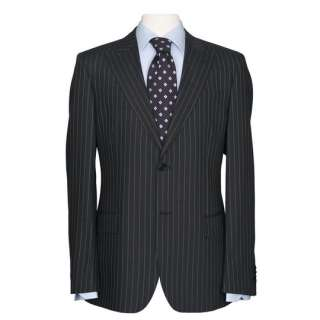 DARK GRAY CHARCOAL PINSTRIPE MENS ITALIAN SUIT MSRP $1295