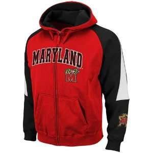 Maryland Terrapins Red Black Playmaker Full Zip Hoodie