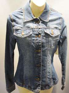 JEANS JACKET TOP FiTTED STRETCH SHiRT DiSTRESS CASUAL WORK 6