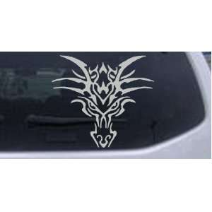Tribal Dragon Car Window Wall Laptop Decal Sticker    Silver 12in X 10