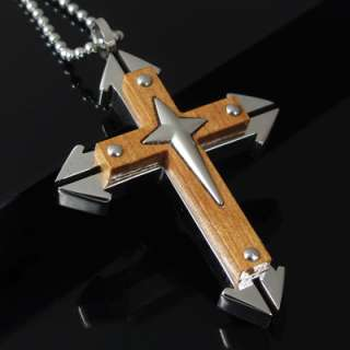 Heavy Mens Stainless Steel Cross Pendant Necklace Chain
