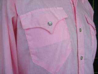 Pink CUSTOM Fitted WESTERN Cowboy PEARL SNAP Square Dance SHIRT Vtg M