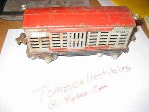 LIONEL NO 656 CATTLE CAR RARE PRE WAR CATTLE CAR/ BOX CAR
