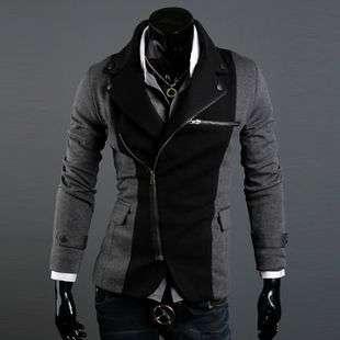 2011 Mens Spring Fashion Korean Irregular Zipper Slim Suit Dark Grey