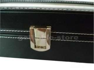 New Black Leather 6 Grid Watch Display Box Show Case Jewelry Storage