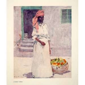 1906 Color Print Market Woman Jamaica Indigenous People