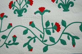 30s Vintage Red & Green Applique Carolina Lily Hand Stitched Antique