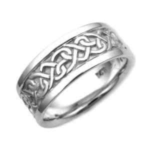 14K. White Gold Celtic Heart Knot Design Comfort Fit Wedding Band Ring