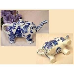 Blue Willow Ceramic Elephant Teapot