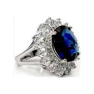 Rhodium Plated Cz Sapphire Princess Kate Ring Size 6