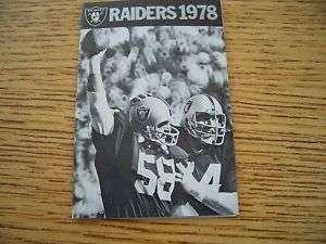 1978 NFL Oakland Raiders Football Pocket Schedule PSA