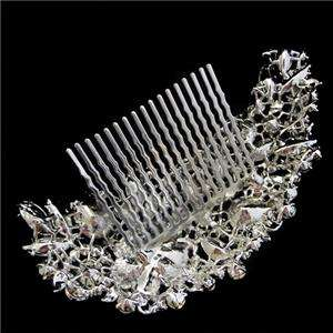 Delicate Bridal Flower Drop Hair Comb Austrian Rhinestone Crystal
