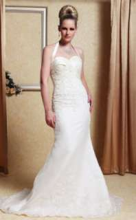 Trumpet/ Mermaid Halter Sweep/ Brush Train Satin Organza Wedding Dress