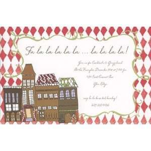 Christmas Village, Custom Personalized Christmas Invitation, by Bella