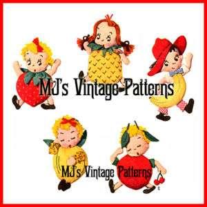 Vtg 1940s Pee Dee Fruit Orchard Kid Dolls Pattern ~ cherry banana