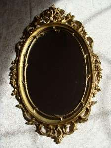 VINTAGE HOLLYWOOD REGENCY MID CENTURY MODERN GOLD GILDED OVAL MIRROR