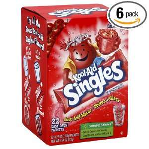 Kool Aid Singles, Cherry, 0.27 Ounce Packets, 22 Count (Pack of 6