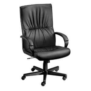 High Back Leather Executive Chair Burgundy Leather/Black