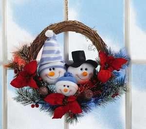 Snowman & Family Fiber Optic Lighted Christmas Rattan Wreath
