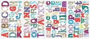 110 New MODERN COLORS ALPHABET WALL STICKERS Names Letters Decals ABC